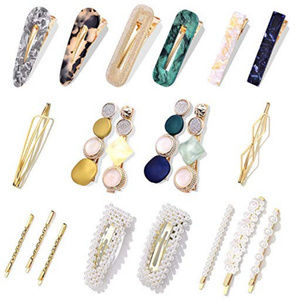 Style Pearls  gold resin Hair clips Barrettes